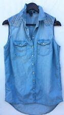 FOREVER 21 Women's Denim Sleeveless Shirt Size L studded