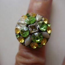 Bague femme métal gris pierres vertes jaunes blanches bijou fantaisie N4123