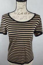 Jones New York Women's Wool Blend Sweater Blouse Striped Black Brown Small