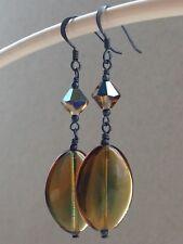 Vintage Topaz & Green Bi-Colour Glass & Topaz Ab Crystals Oxidized 925 Earrings