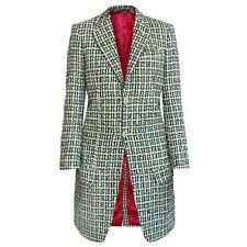 NIGEL CURTISS $1,650 women's green multi-color fantasy tweed plaid coat S NEW