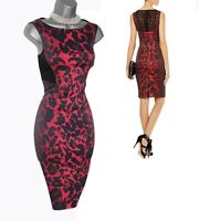 Karen Millen Red Leopard Print Signature Stretch Elegant Cocktail Dress UK 10 38