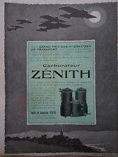 8/26 PUB CARBURATEUR ZENITH MOTEUR AVIATION GRAND PRIX HYDRAVION BURRI HALLO AD