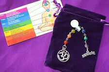 7 Chakra Genuine Gemstone Prayer Beads, Yoga Healing, OM Namaste Dangle