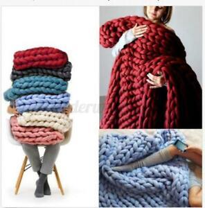 120x150cm Soft Chunky Knitted Thick Blanket Hand Yarn Wool Throw Sofa Blanket UK