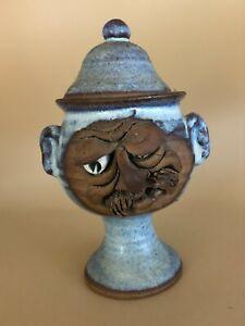 Vtg Stoneware Wine Goblet Funny Ugly Face Mug Art Pottery Signed Adams 3D W Lid