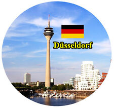 DUSSELDORF, GERMANY - FLAG / SIGHTS - ROUND SOUVENIR FRIDGE MAGNET  GIFT - NEW