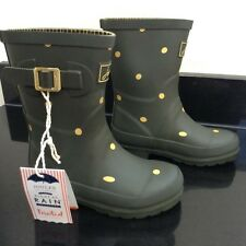 JOULES GREEN WITH GOLD SPOT WELLIES. BOOTS. SIZE 11. NEW WITH TAG