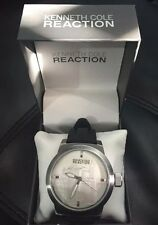 Kenneth Cole Reaction Men's Silver Round Watch with Black Rubber Strap  - RK1379
