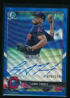 LENNY TORRES AUTO 2018 1st Bowman Draft Chrome BLUE WAVE REFRACTOR Indians RC