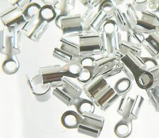 300 Silver Plated Brass Cord Tip Ends Silver-plated 10x5mm 3mm to 5mm Inside