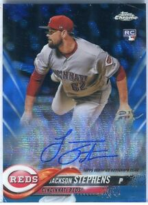 2018 Topps Chrome Jackson Stephens Blue Wave Auto Refractor RC 57/150  On Card