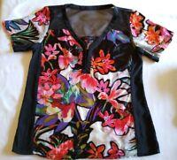 Nanette Lepore Floral Silk & Mesh Blouse Semi Sheer V-neck Cocktail/Party Top 4