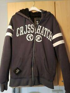 mens crosshatch fur lined hoodie/jacket