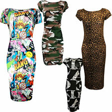 NEW WOMEN'S CASUAL CAP SLEEVE STRETCH BODYCON MIDI DRESS PRINTED PLUS SIZES 8-22