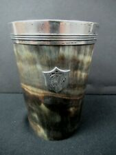 antique ENGLISH HORN DRINKING CUP w/STERLING RIM and SHIELD hunting