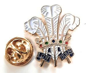 Prince Of Wales Feathers Enamel & Metal Lapel Gift Pin Badge FREE UK Delivery!