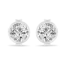 Platinum Diamond Stud Earrings, Bezel Set Earrings, 0.70 Carat Certified Unique