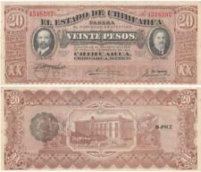 ONE 1915 Mexico 20 Pesos EL ESTADO DE CHIHUAHUA Issue  SERIE K UNCIRCULATED