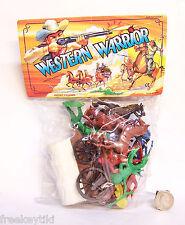 Western Cowboys and Indians Plastic Figure Figurine Playset Horses Wagon Diorama