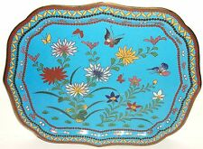 Rare Old 19Th Century Chinese Bronze Cloisonne Blue Enamel Floral Butterfly Tray
