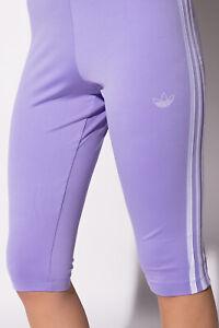 Adidas Womens Cropped Leggings Purple / White GN4440 Sz 32 34 36 38