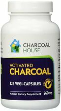 125 USP Activated Charcoal capsules 260mg caps Vegetarian Gluten Free Non GMO