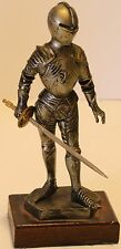 """Italy Depose 74 Medieval Knight 6"""" Statue Figurine w/Sword Wood Base"""