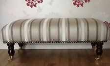 Footstool Stool In Laura Ashley Forbury Truffle Stripe Fabric