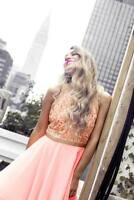 Virgos Lounge Peach Embellished Flare Skater Cocktail Prom Party Dress 8 to 14