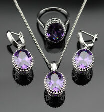 Beautiful Oval Amethyst 925 Silver Necklace Pendant Earrings Ring Size 6 7 8 9