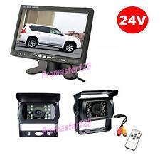 "12V-24V Car Rear View Kit 2x Reversing Camera + 7"" LCD Monitor for Bus Truck Van"