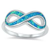 .925 Sterling Silver 9MM INFINITY KNOT LOVE DESIGN BLUE LAB OPAL RING SIZES 5-10