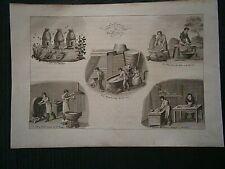 Gravures N/B1822 vieux métiers: La cire et la bougie