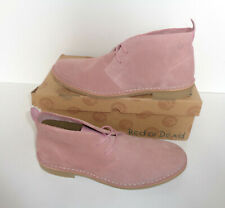 Red or Dead Mens Pale Pink Leather Chelsea Lace Up Desert Boots Shoes Size 8