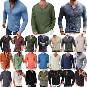 Men Long Sleeve Henley Neck Formal T-Shirt Tops Slim Fit Casual Tee Blouse Top