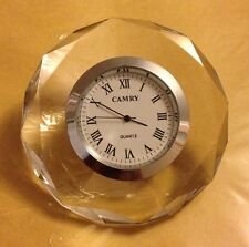 New, CAMRY, Crystal Diamond Cut Glass Quartz Desk Round Shape Clock/Paper Weight
