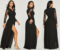 AU Womens Long Black Lace Dress Prom Evening Party Cocktail Bridesmaid Ball Gown