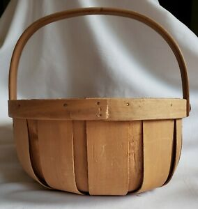 "Primitive 9 3/4"" Round Natural Woven Wood Basket with Handle Vintage THT"