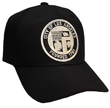 City Of Los Angeles Founded 1781 Hat Black Ball Cap Silver Patch Adjustable
