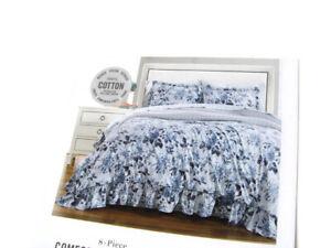 Martha Stewart Ruched Floral Flowers California Cal KingComforter Sheet Set Sham