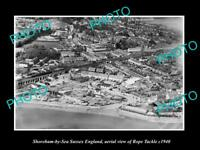 OLD LARGE HISTORIC PHOTO SHOREHAM BY SEA ENGLAND AERIAL VIEW ROPE TACKLE c1940