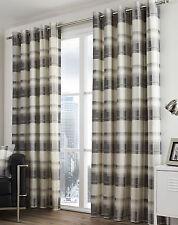 Eyelet Ring Top Curtains Balmoral Check Slate Grey