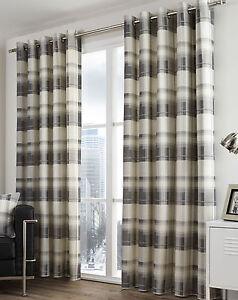 Balmoral Check Slate Grey Eyelet Ring Top Curtains