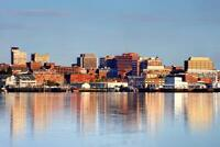 Portland Maine Skyline Reflecting Water Photo inch Poster 24x36 inch