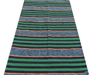 Tapis indien Fait main Coton léger Très fort Inde Vert Boho Jeté de canapé I