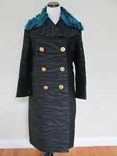 NWT Kenzo H&M Black Zebra Faux Fur Collar Long Wool Blend Coat Sz 8 SOLD OUT