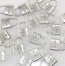 BC02 Perlen Metallperlen Anhänger Charm Schloss 10x Halskette Armband Silber