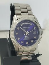 Automatic Croton diamond Day Date blue dial Men's Watch.