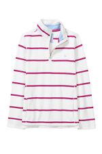 New Crew Clothing Womens 1/2 Zip Stripe Sweatshirt in Vanilla /Peony